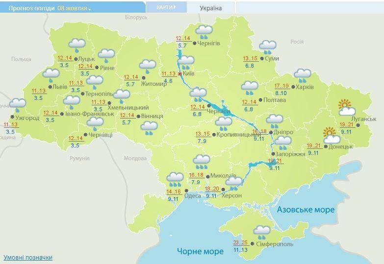 погода на 8 жовтня