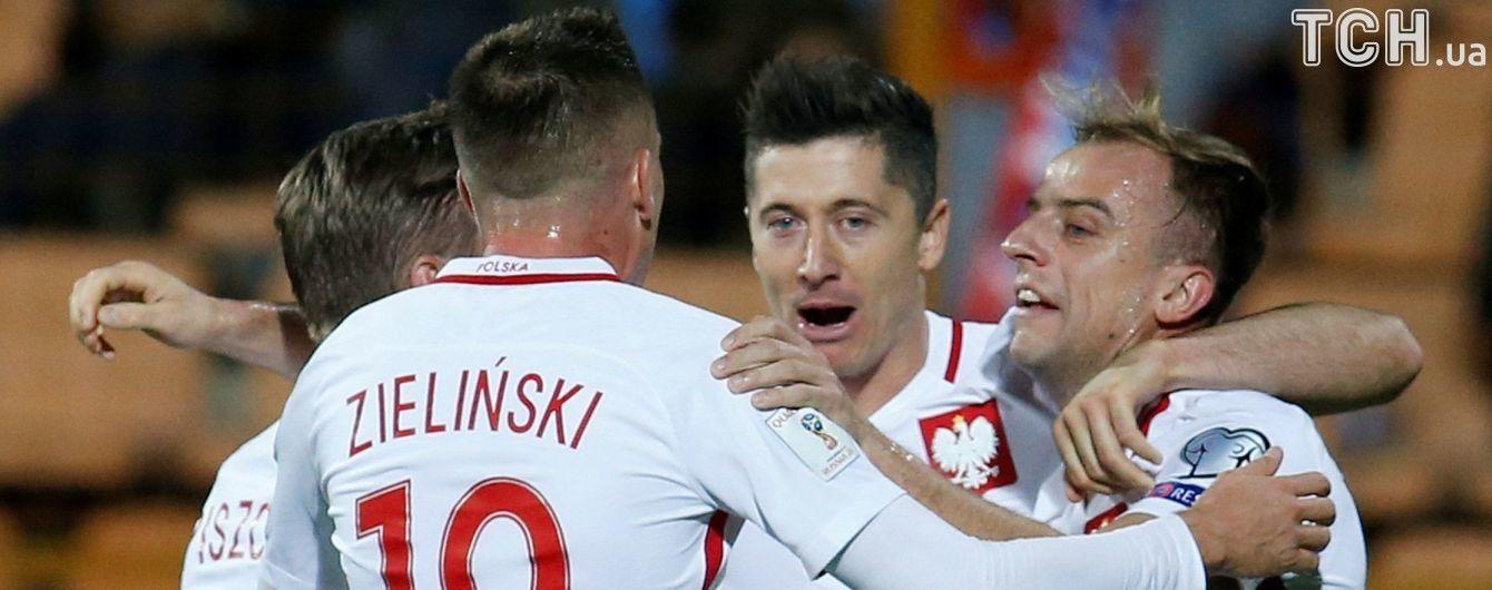 Польща у результативному матчі здобула перемогу над Чорногорією та вийшла до ЧС-2018, Данія потрапляє у стикові матчі