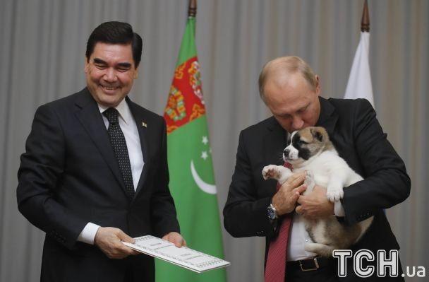 Подаренный Путину песик убежал после президентского поцелуя
