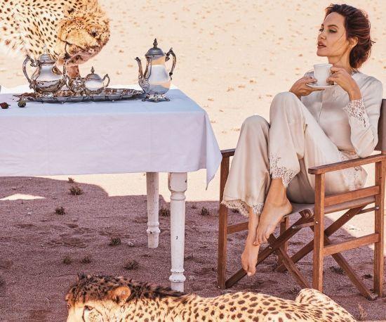 Смілива Джолі позувала для глянцю в оточенні гепардів