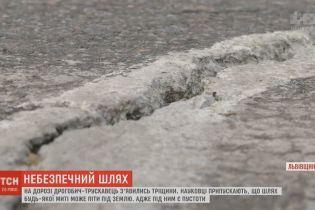 Через аварійну дорогу поблизу Дрогобича вже не пускають фури
