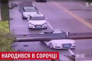 Чудесное спасение: в Китае водитель сам вылез из авто, которое раздавил строительный кран
