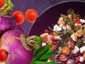 Печёная репа с помидорами и сыром: осенний рецепт
