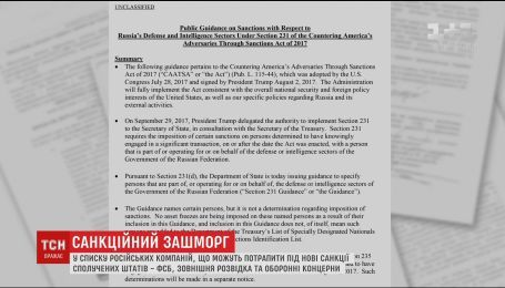 США підготували список компаній РФ, на які можуть поширитись санкції