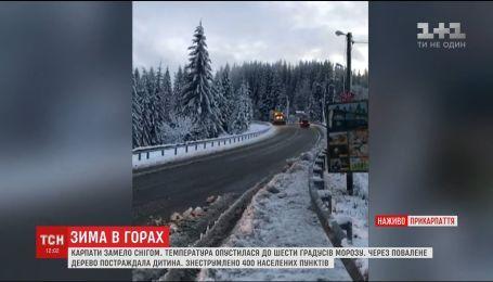Первые пострадавшие и возвращенный рейс: западные области страдают от урагана и снега