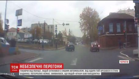 В Чернигове во время побега от полиции нетрезвый водитель разбил несколько машин