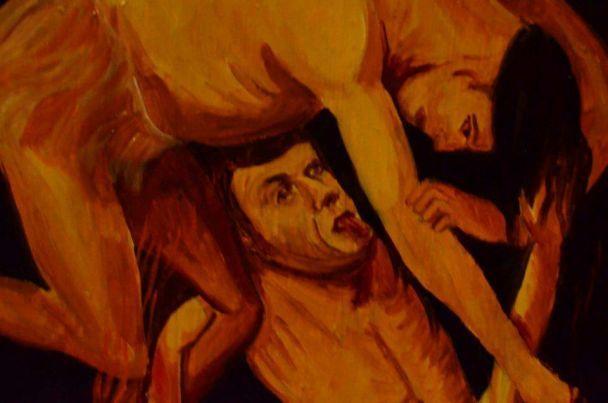 У храмі на Прикарпатті знайшли ікону з чоловіком, схожим на голого Ющенка в пеклі