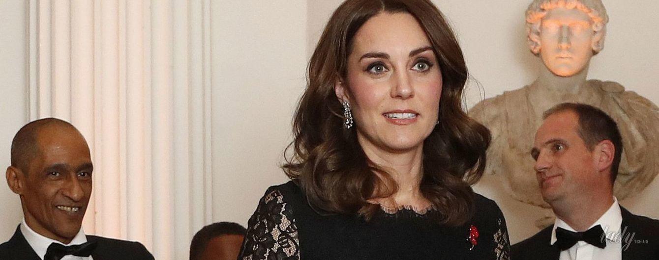 Беременная герцогиня Кембриджская появилась на торжественном приеме в элегантном платье за 1000 долларов