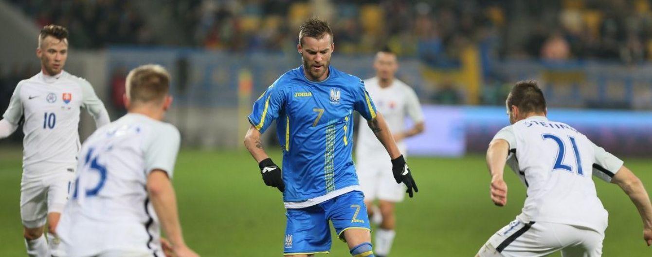 Сборная Украины в волевом стиле победила Словакию в товарищеской игре