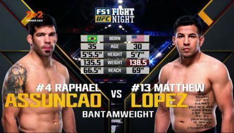 UFC. Рафаель Асунсао – Метью Лопез. Відео бою