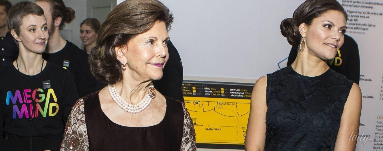 В ярком бархатном платье и с жемчужными украшениями: королева Сильвия на торжественном мероприятии