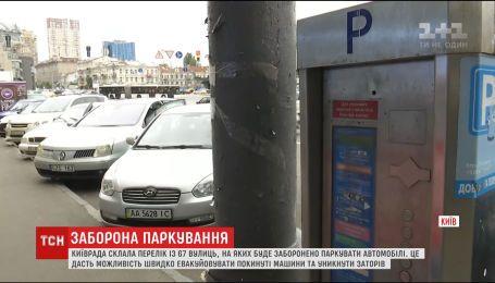 Киевсовет утвердил перечень улиц, где запрещено парковаться