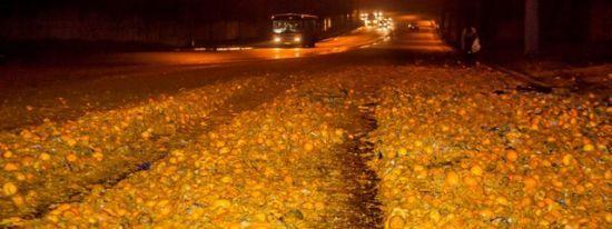 Тонни мандаринів просто на дорозі: у Дніпрі фура загубила частину вантажу