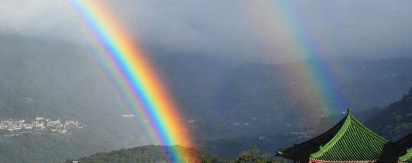 На Тайване 4-кратная радуга висела в небе рекордные девять часов
