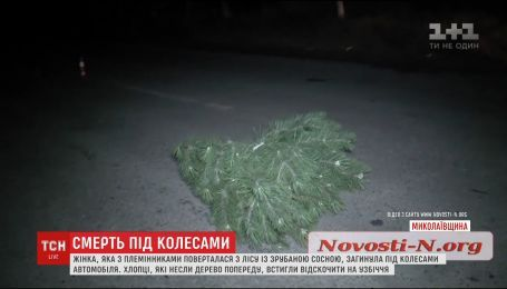 В Николаеве женщина погибла под колесами авто с украденной елкой
