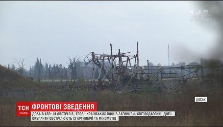 Сутки в АТО: 14 обстрелов, трое украинских воинов погибли