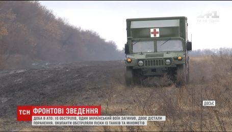 В результаті інтенсивних обстрілів загинув один український військовий