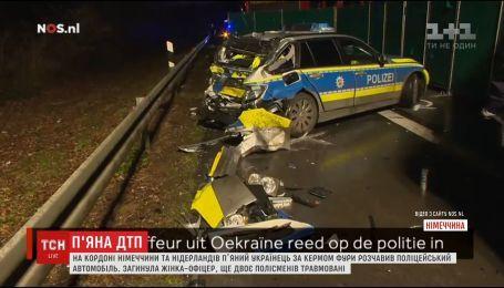 В Германии фура с украинскими номерами протаранил полицейский автомобиль