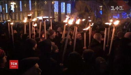 Активисты отметили факельным маршем день рождения Бандеры