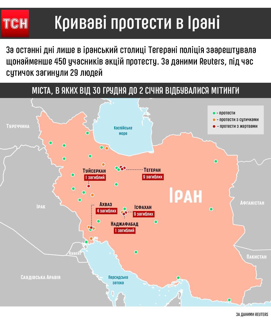 протести в Ірані, інфографіка