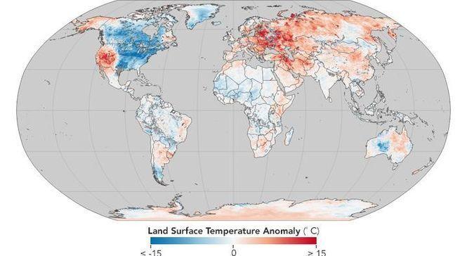 NASA показало карту температурних аномалій на планеті