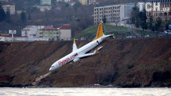 У Туреччині літак викотився зі смуги і мало не впав до моря