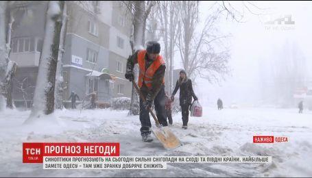 Одесса приходит в себя после мощного снегопада