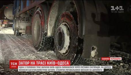 Одна из главных трасс Украины Киев-Одесса остановилась из-за неочищенной дороги