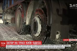 Одна з головних трас України Київ-Одеса зупинилася через непрочищену дорогу
