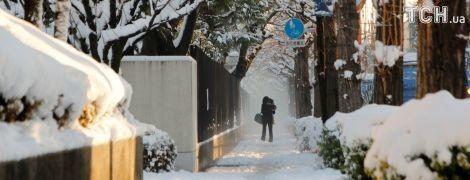 В Токио выпал снег. Людям разрешили уйти с работы раньше
