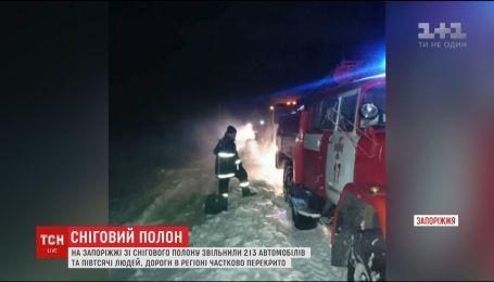 Сотни авто оказались в снежном плену на трассе Васильевка-Энергодар