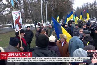 В Запорожье участникам пророссийского митинга залили дорогу свиной кровью