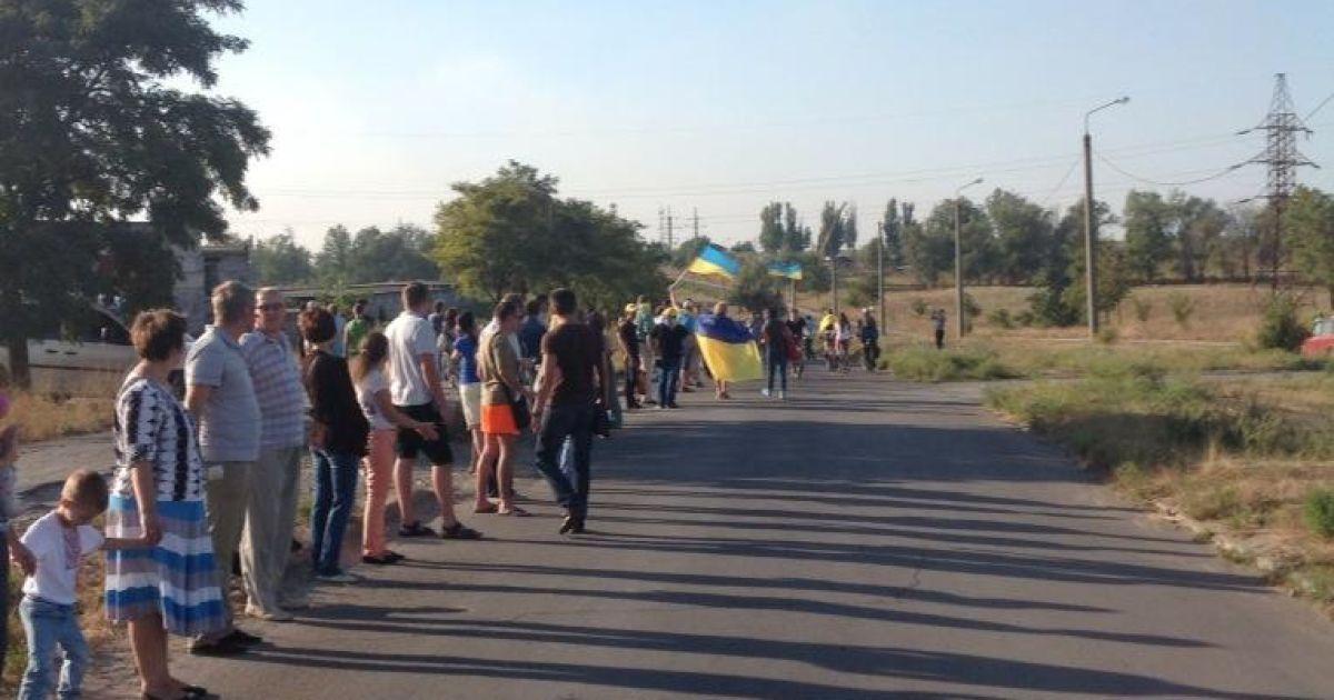 Мешканці Маріуполя утворили живий ланцюг @ twitter.com/p_pieniazek
