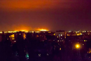 После обстрела горят поля под Мариуполем