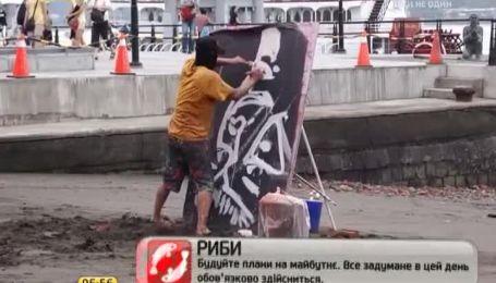 Уличный художник за две минуты нарисовал портрет Брюса Ли