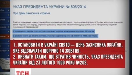 Президент встановив 14 жовтня Днем захисника України