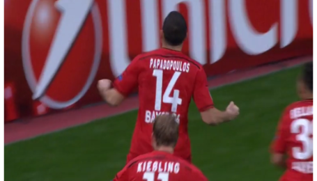 Байер - Зенит - 2:0. Видео гола Кириакоса Пападопулоса