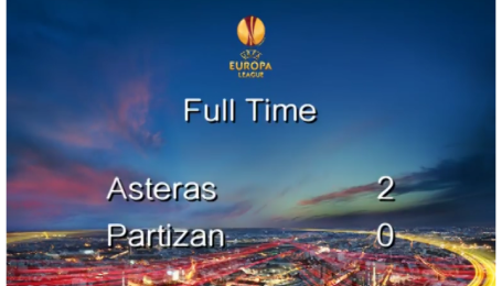 Астерас - Партизан - 2:0. Видео матча.