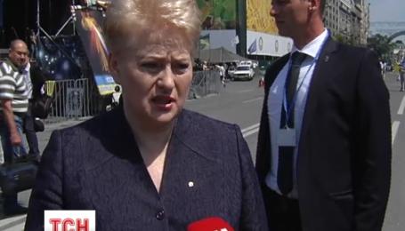 На Площади Независимости сегодня появился только один президент - литовский