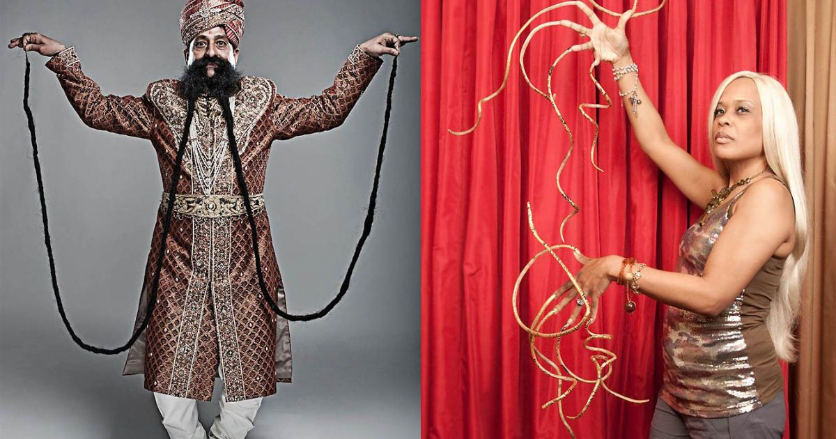 Найдовші вуса (4,2 м) у індійця Рам Сінга Чаухана, а найдовші нігті — у американки Кріс Уолтон (3,09 м на лівій руці та 2,88 м на правій) @ Guinness World Records