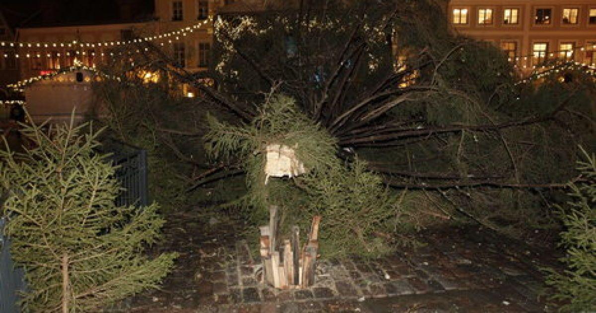 Ялинка на Ратушній площі впала вдруге @ DzD.ee