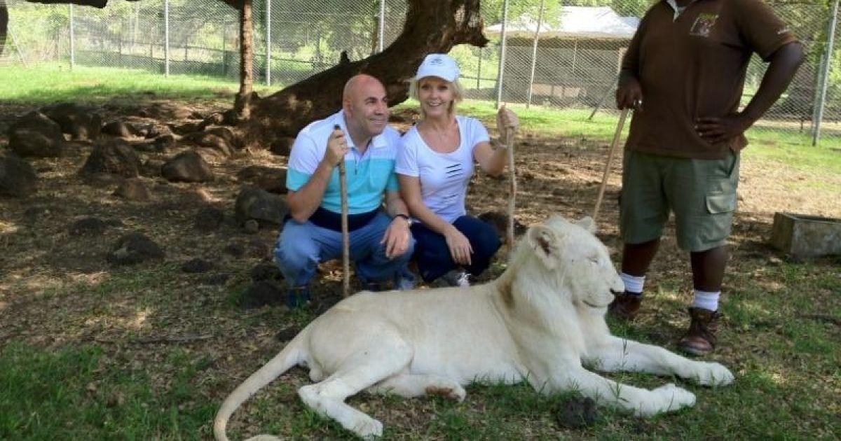 Навколо Валерії з чоловіком було ще багато левів @ Twitter/Валерія