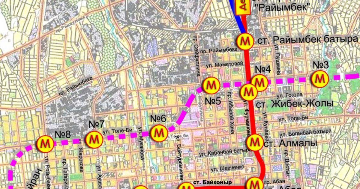 Схема Алматинського метрополітену @ tengrinews.kz