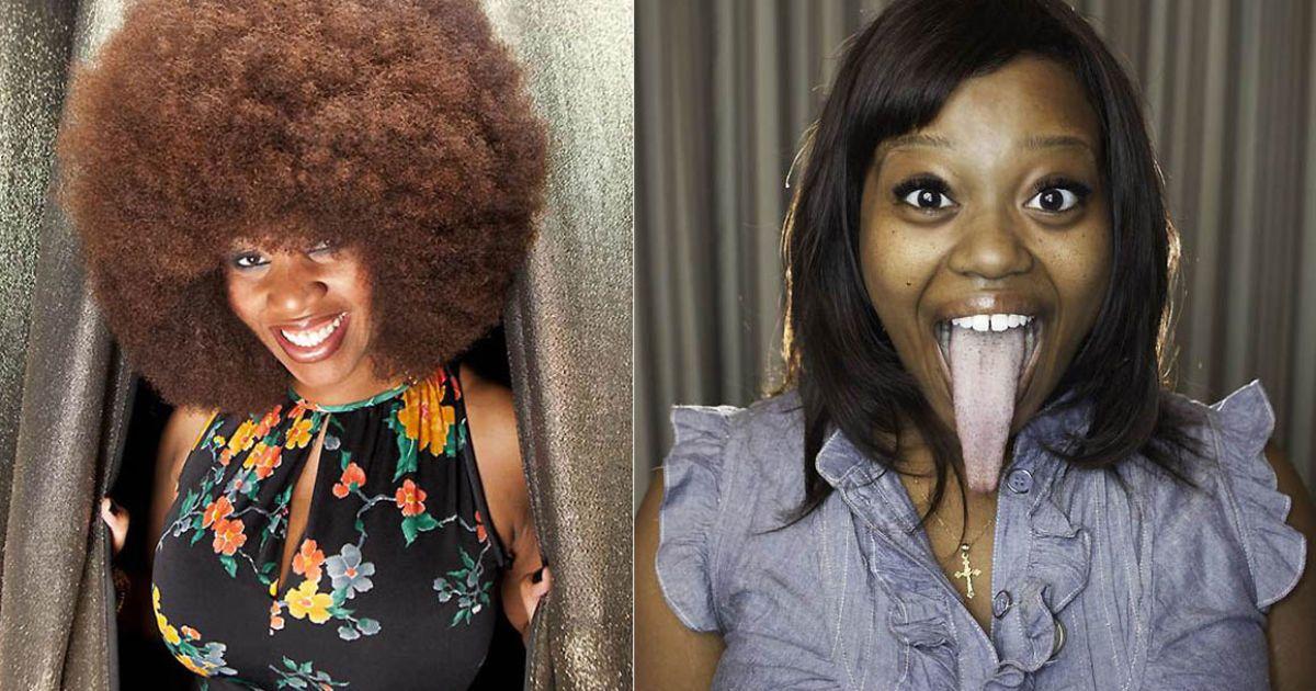 Найбільша аафро-зачіска у Евін Дугас з Нового Орлеану (1,31 м), а найдовший язик має Шанель Теппер з Каліфорнії (9,6 см) @ Guinness World Records