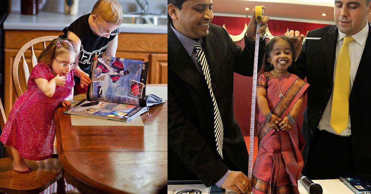 Найнижчі у світі родичі Бріджит Джордан (67 см) та її брат Бред. А найнижчою жінкою назвали Джйоті Амге (62,7 см) @ Guinness World Records