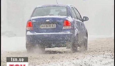 Киев страдает от заторов из-за снегопада