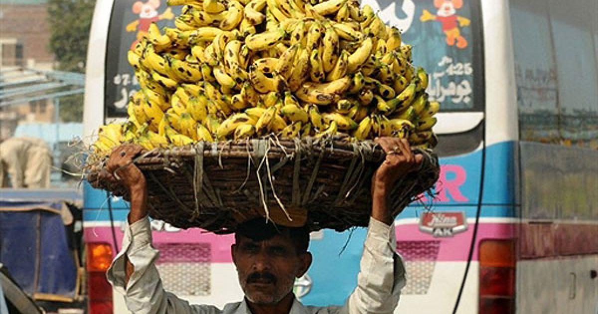 Пакистан, Лахор. Пакистанець несе велику корзину з бананами на фруктовий ринок у Лахорі. Центральний банк Пакистану підняв процентну ставку до 13,5 відсотків, попереджаючи, що інфляція, як і раніше, істотно впливає на економіку. @ AFP