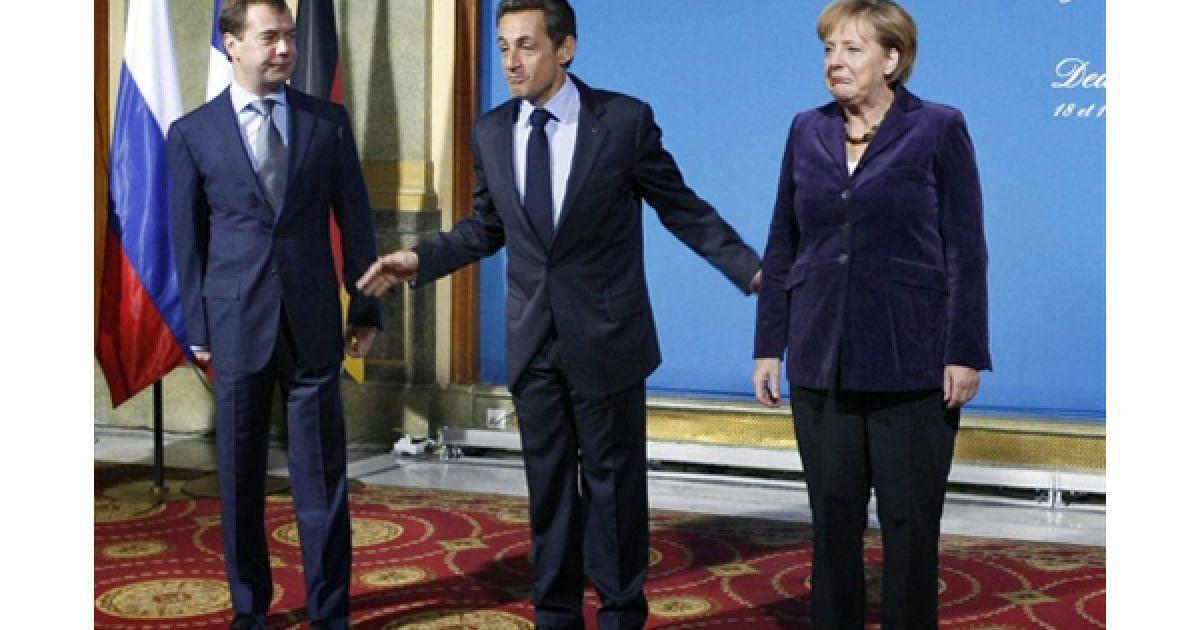 У Довілі відбулася зустріч президентів РФ та Франції Дмитра Мєдвєдєва і Ніколя Саркозі та канцлера Німеччини Ангели Меркель. @ AFP