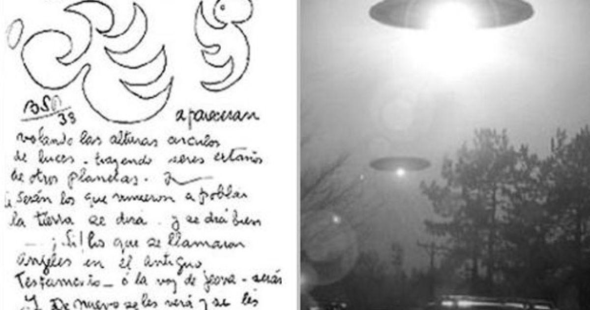 """""""Летающие тарелки в виде ярких вспышек света будут посещать Землю, принося с собой странных существ с других планет, это будут те, кто в Ветхом Завете называли себя ангелами и все их снова увидят и начнут слушать"""" (1938). @ Life News"""
