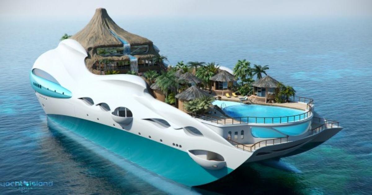 Розкішна 90-метрова яхта-острів Tropical Island Paradise Superyacht з пляжем, басейном і вулканом.